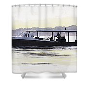 Crab Boat Slick Calm Day Chesapeake Bay Maryland Shower Curtain by G Linsenmayer