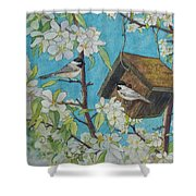 Crabapple Chickadees Shower Curtain