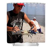 Crabbin For Blues Shower Curtain