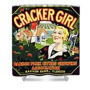 Cracker Girl Citrus Crate Label C. 1920 Shower Curtain