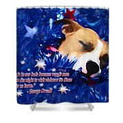 Cradled By A Blanket Of Stars And Stripes - Quote Shower Curtain