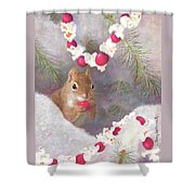 Cranberry Garlands Christmas Squirrel Shower Curtain
