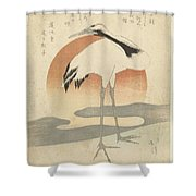 Crane For The First Sunrise Of The Year, Totoya Hokkei, C. 1821 Shower Curtain