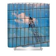 Crane Reflection - Atlantic City Shower Curtain