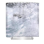 Crashing Against Lava Rocks Shower Curtain