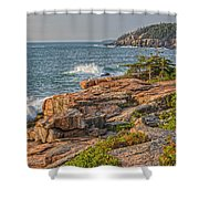 Crashing Waves At Otter Cliff Shower Curtain