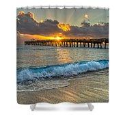 Crashing Waves At Sunrise Shower Curtain