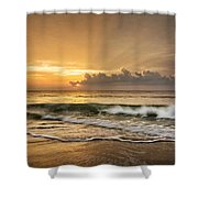 Crashing Waves At Sunrise Shower Curtain
