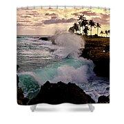Crashing Waves At Sunset Shower Curtain