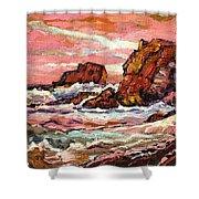 Crashing Waves At Sunset  Majestic Seascape Shower Curtain