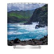 Crashing Waves - Nakalele Point  Shower Curtain