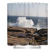 Crashing Waves On Maine Coast Rocks  Shower Curtain