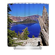 Crater Lake And Wizard Island Shower Curtain