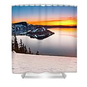 Crater Lake Dawn Shower Curtain
