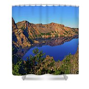 Crater Lake Morning Reflections Shower Curtain