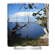 Crater Lake Perspective Shower Curtain