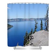 Crater Lake Scenic Panorama Shower Curtain