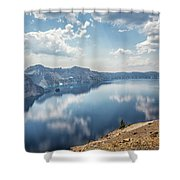 Crater Lake With A View Of The Phantom Ship Shower Curtain