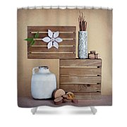 Crates With Flower Still Life Shower Curtain