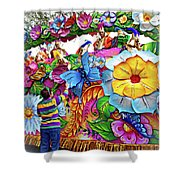 Craving Mardi Gras Beads - Tiptoe Pleading Technique - Vignette Shower Curtain