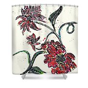 Crayon Flowers Shower Curtain