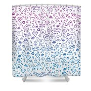 Crazy And Cute Monster Patter In Blue Pink Shower Curtain