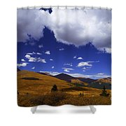 Crazy Blue Sky Shower Curtain by Barbara Schultheis