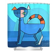 Crazy Cat Shower Curtain by Jutta Maria Pusl