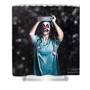 Crazy Doctor Clown Laughing In Rain Shower Curtain