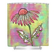 Crazy Flower With Funky Leaves Shower Curtain