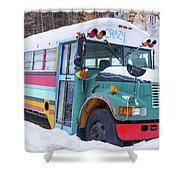 Crazy Painted Old School Bus In The Snow Shower Curtain