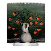 Crazy Red Flowers Shower Curtain