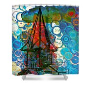 Crazy Red House In The Clouds Whimsy Shower Curtain