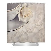 Cream Rose On White China Cup Shower Curtain