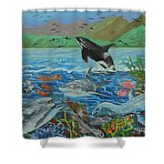 Creation Fifth Day Sea Creatures And Birds Shower Curtain