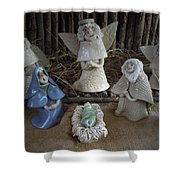 Creche Mary Joseph And Baby Jesus Shower Curtain by Nancy Griswold