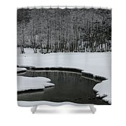 Creek In Snowy Landscape Shower Curtain
