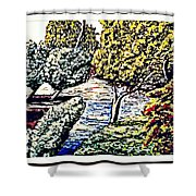 Creek In The Forest Framed Shower Curtain