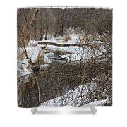 Creek Winding Through The Snow Shower Curtain