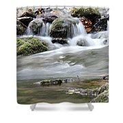 Creek With Rocks Spring Scene Shower Curtain