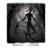 Creepy Nightmare Waiting In The Dark Forest Shower Curtain