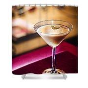Creme Caramel Martini Cocktail In Bar Shower Curtain