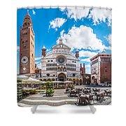 Cremona Market Square With Cathedral Shower Curtain