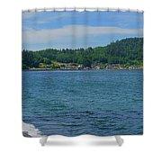 Crescent Beach Center Panoramic Shower Curtain
