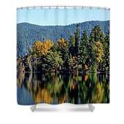 Crescent Lake Fall Colors Shower Curtain