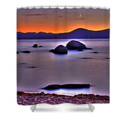 Crescent Moon Above Tahoe Shower Curtain