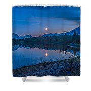 Crescent Moon Over Middle Lake In Bow Shower Curtain