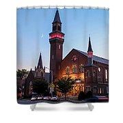 Crescent Moon Over Old Town Hall Shower Curtain by Sven Kielhorn