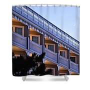 Crescent Moon Over The Boardwalk Plaza Hotel Shower Curtain
