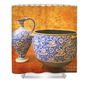 Crete Blue And Gold Jug And Bowl Shower Curtain